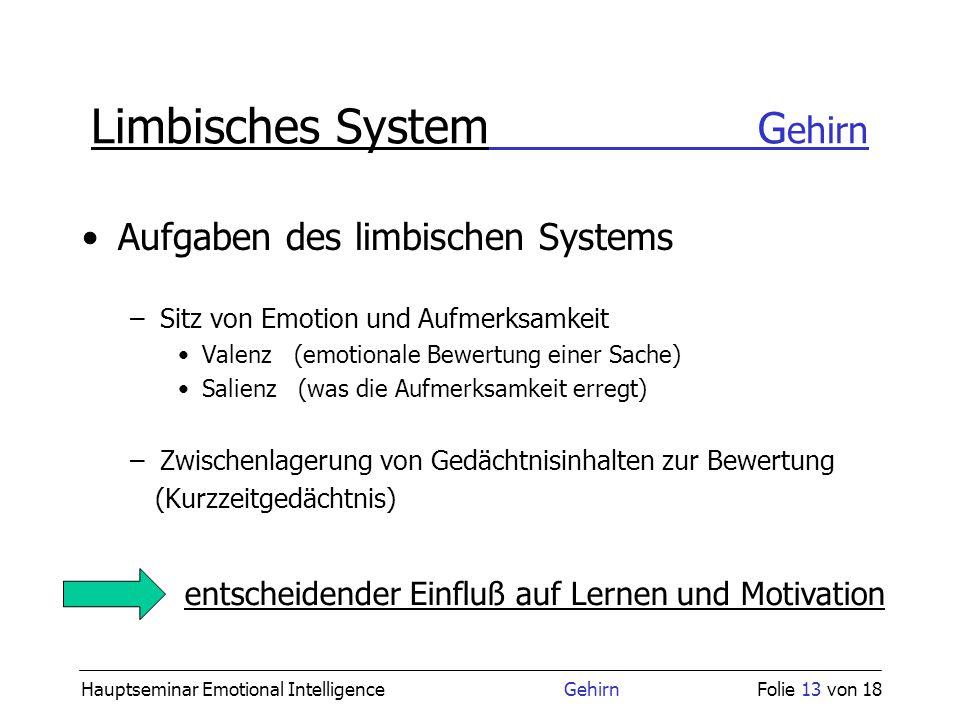 Hauptseminar Emotional Intelligence GehirnFolie 13 von 18 Limbisches System G ehirn Aufgaben des limbischen Systems entscheidender Einfluß auf Lernen