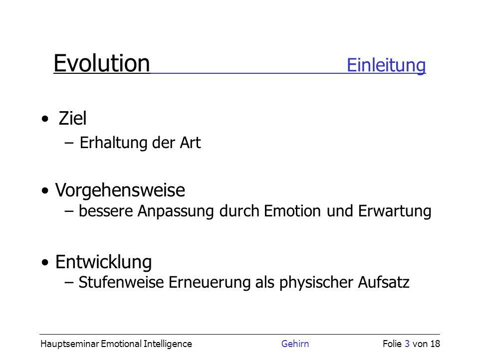Hauptseminar Emotional Intelligence GehirnFolie 3 von 18 Evolution Einleitung Ziel –Erhaltung der Art Entwicklung – Stufenweise Erneuerung als physisc