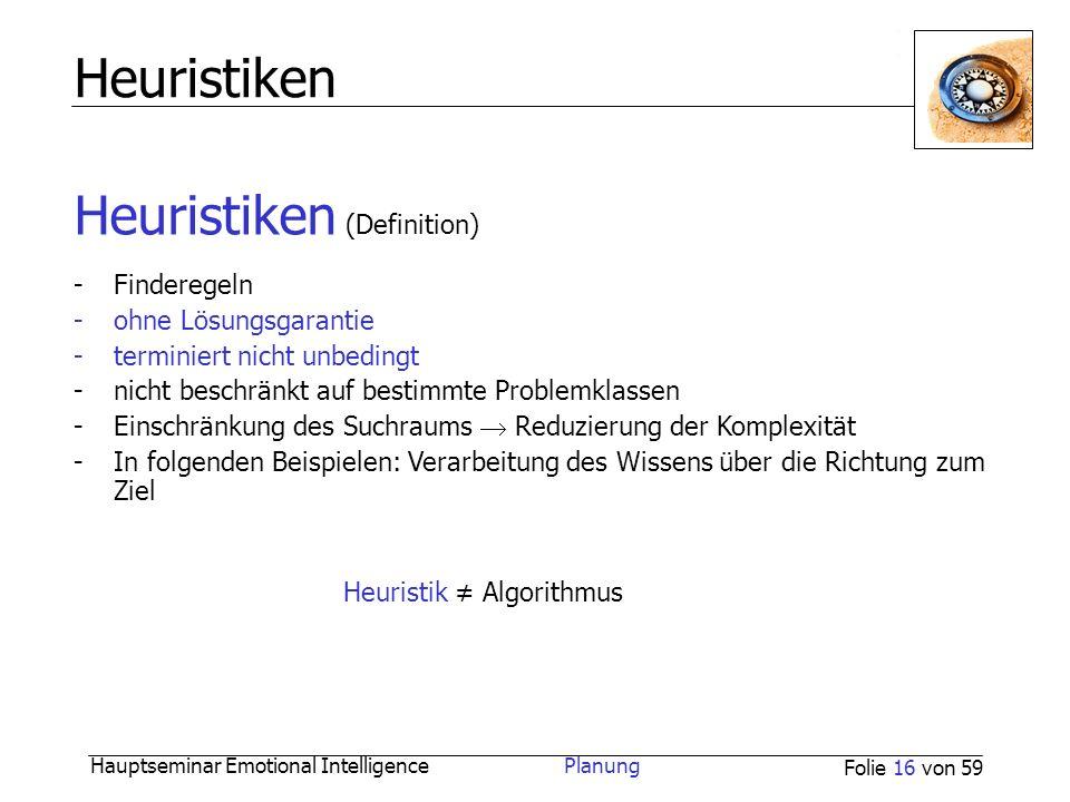 Hauptseminar Emotional Intelligence Planung Folie 16 von 59 Heuristiken Heuristiken (Definition) -Finderegeln -ohne Lösungsgarantie -terminiert nicht