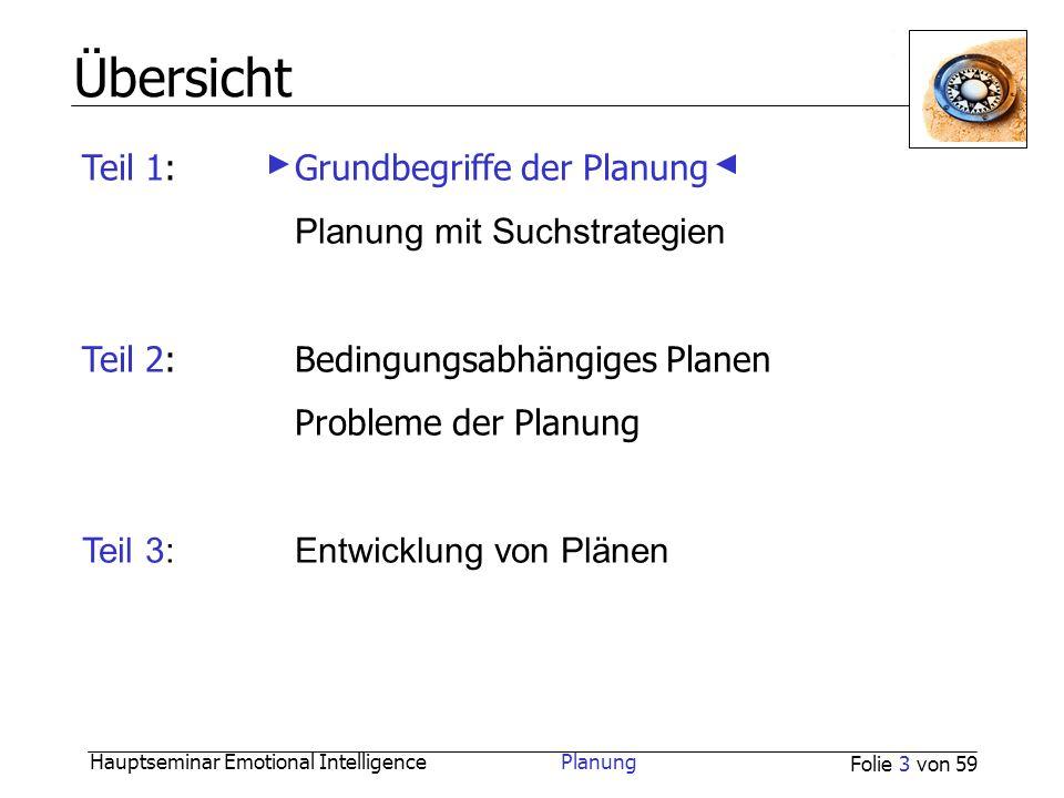 Hauptseminar Emotional Intelligence Planung Folie 3 von 59 Übersicht Teil 1:Grundbegriffe der Planung Planung mit Suchstrategien Teil 2:Bedingungsabhä
