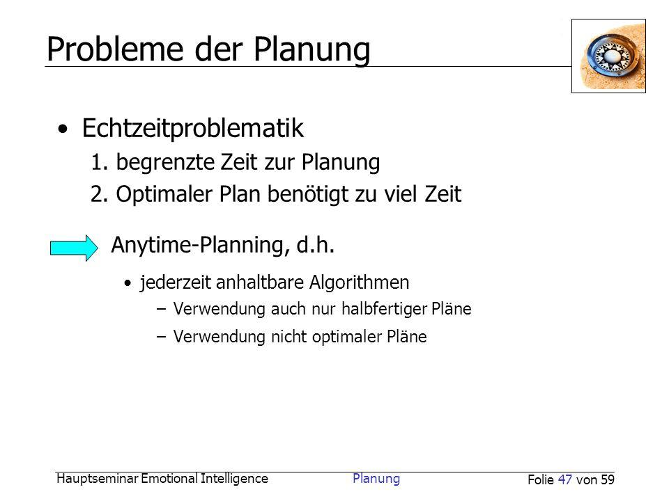 Hauptseminar Emotional Intelligence Planung Folie 47 von 59 Probleme der Planung Echtzeitproblematik 1. begrenzte Zeit zur Planung 2. Optimaler Plan b