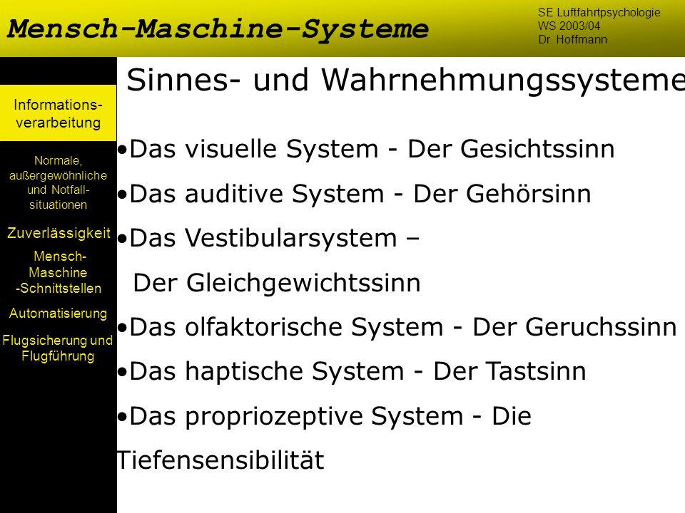 Mensch- Maschine -Schnittstellen Automatisierung Normale, außergewöhnliche und Notfall- situationen Zuverlässigkeit Informations- verarbeitung Sinnes-