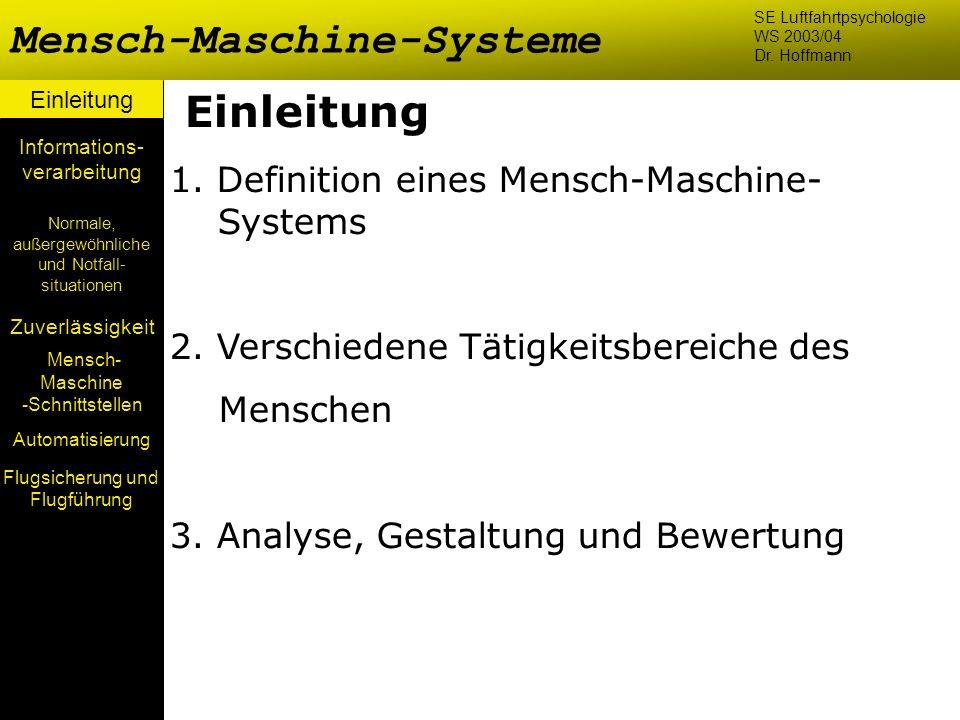 Flugsicherung und Flugführung Mensch-Maschine-Systeme Einleitung Mensch- Maschine -Schnittstellen Automatisierung Normale, außergewöhnliche und Notfal