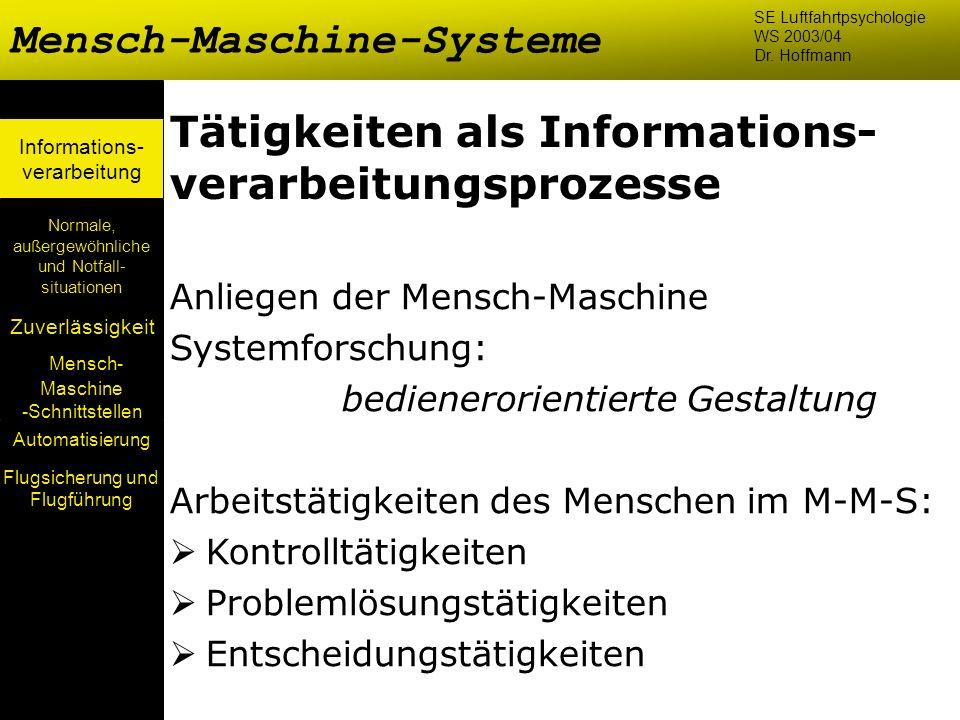 Mensch- Maschine -Schnittstellen Automatisierung Normale, außergewöhnliche und Notfall- situationen Zuverlässigkeit Informations- verarbeitung Tätigke