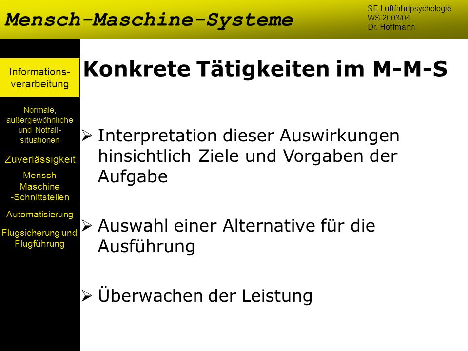 Mensch- Maschine -Schnittstellen Automatisierung Normale, außergewöhnliche und Notfall- situationen Zuverlässigkeit Informations- verarbeitung Konkret