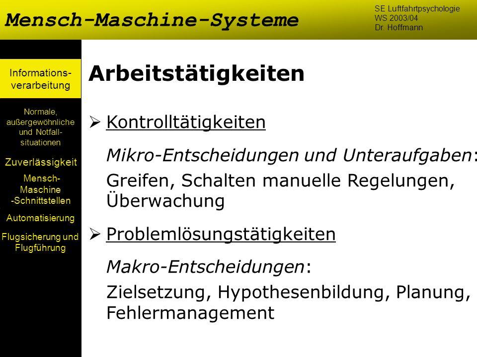 Mensch- Maschine -Schnittstellen Automatisierung Normale, außergewöhnliche und Notfall- situationen Zuverlässigkeit Informations- verarbeitung Arbeits