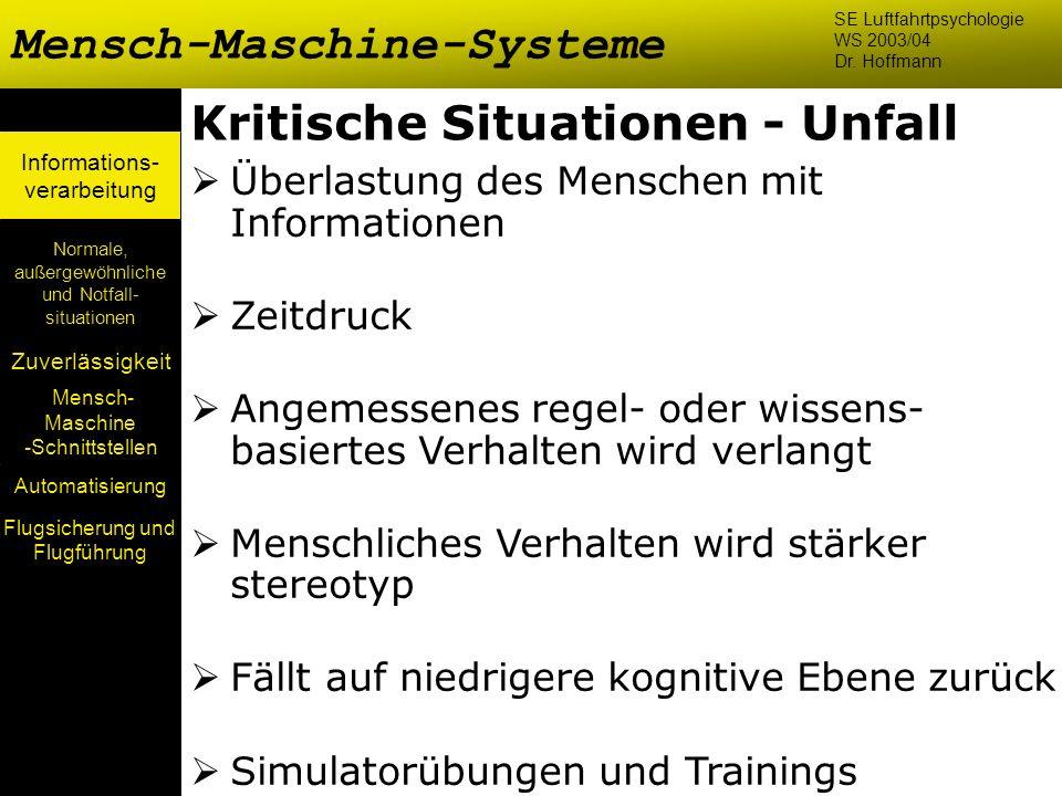 Mensch- Maschine -Schnittstellen Automatisierung Normale, außergewöhnliche und Notfall- situationen Zuverlässigkeit Informations- verarbeitung Kritisc
