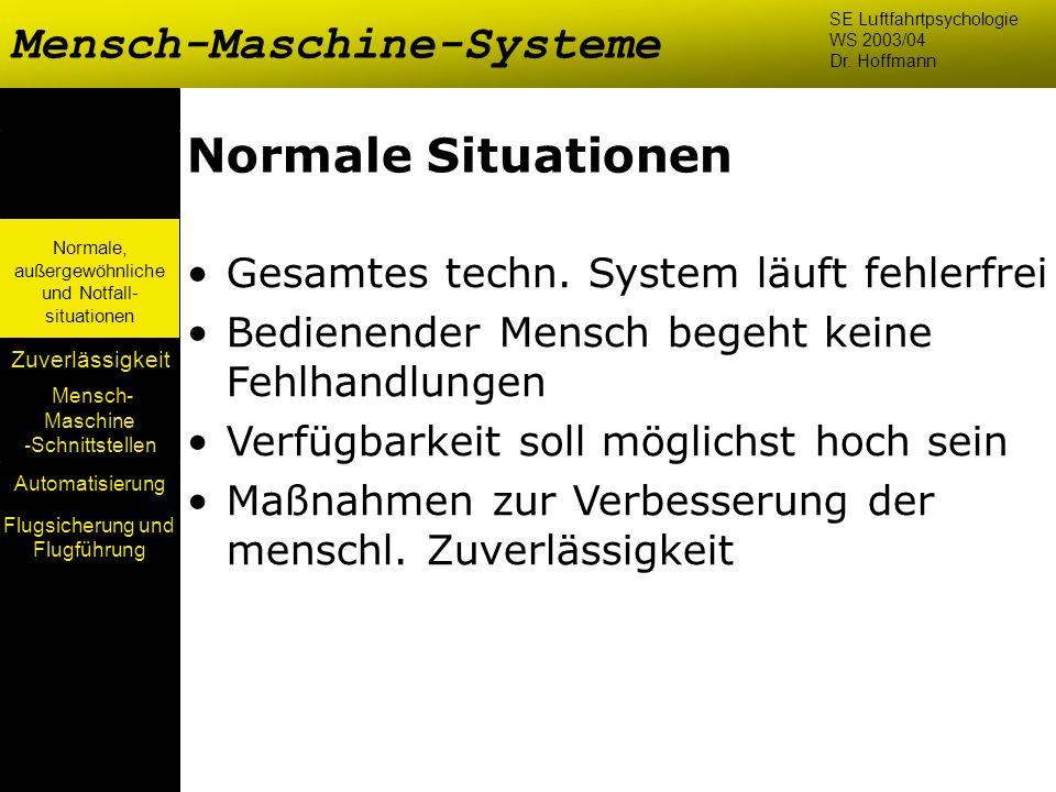 Mensch- Maschine -Schnittstellen Automatisierung Normale, außergewöhnliche und Notfall- situationen Zuverlässigkeit Normale Situationen Gesamtes techn
