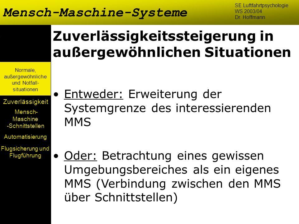 Mensch- Maschine -Schnittstellen Automatisierung Normale, außergewöhnliche und Notfall- situationen Zuverlässigkeit Zuverlässigkeitssteigerung in auße