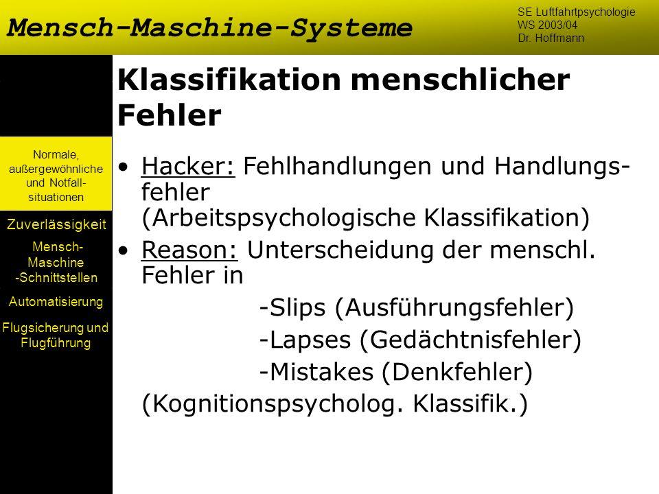 Mensch- Maschine -Schnittstellen Automatisierung Normale, außergewöhnliche und Notfall- situationen Zuverlässigkeit Klassifikation menschlicher Fehler