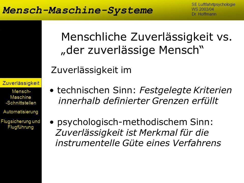 Mensch-Maschine-Systeme Mensch- Maschine -Schnittstellen Automatisierung Zuverlässigkeit SE Luftfahrtpsychologie WS 2003/04 Dr. Hoffmann Menschliche Z