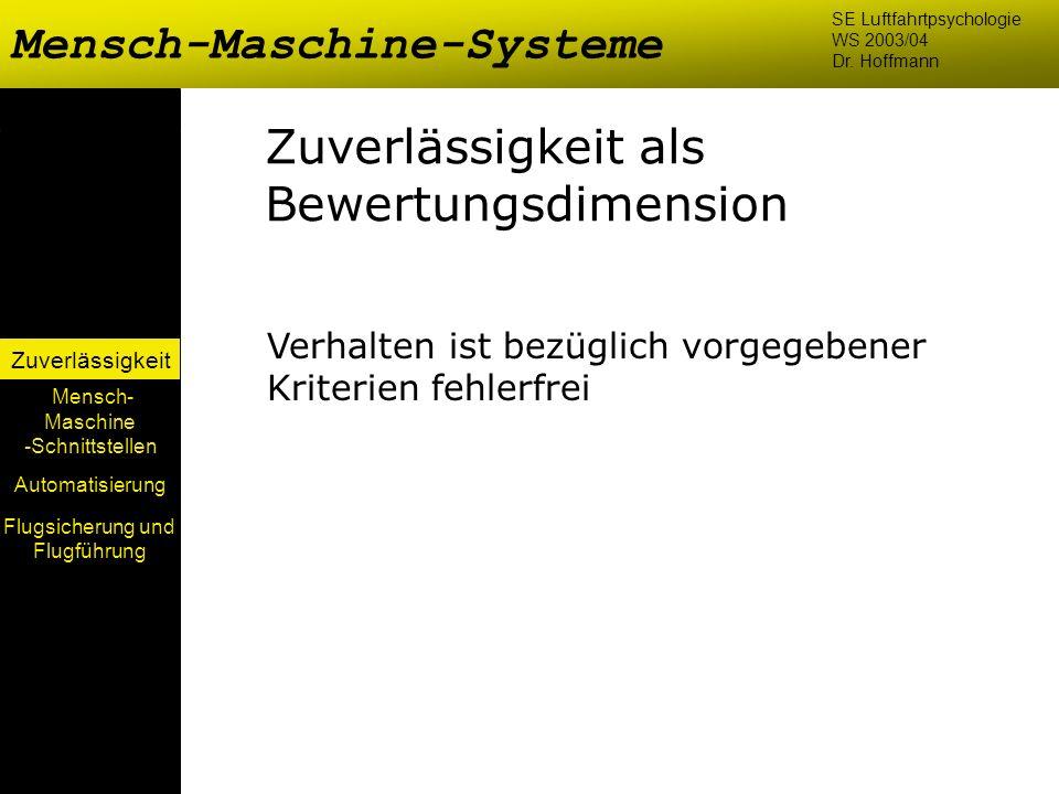 Mensch-Maschine-Systeme Mensch- Maschine -Schnittstellen Automatisierung Zuverlässigkeit SE Luftfahrtpsychologie WS 2003/04 Dr. Hoffmann Zuverlässigke