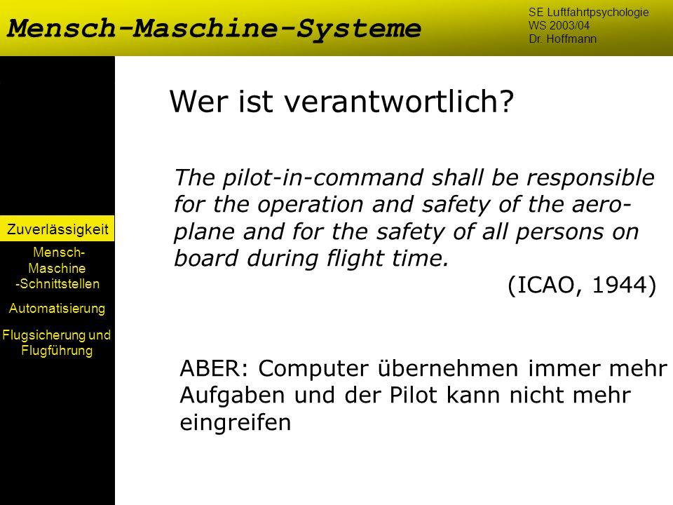 Mensch-Maschine-Systeme Mensch- Maschine -Schnittstellen Automatisierung Zuverlässigkeit SE Luftfahrtpsychologie WS 2003/04 Dr. Hoffmann Wer ist veran