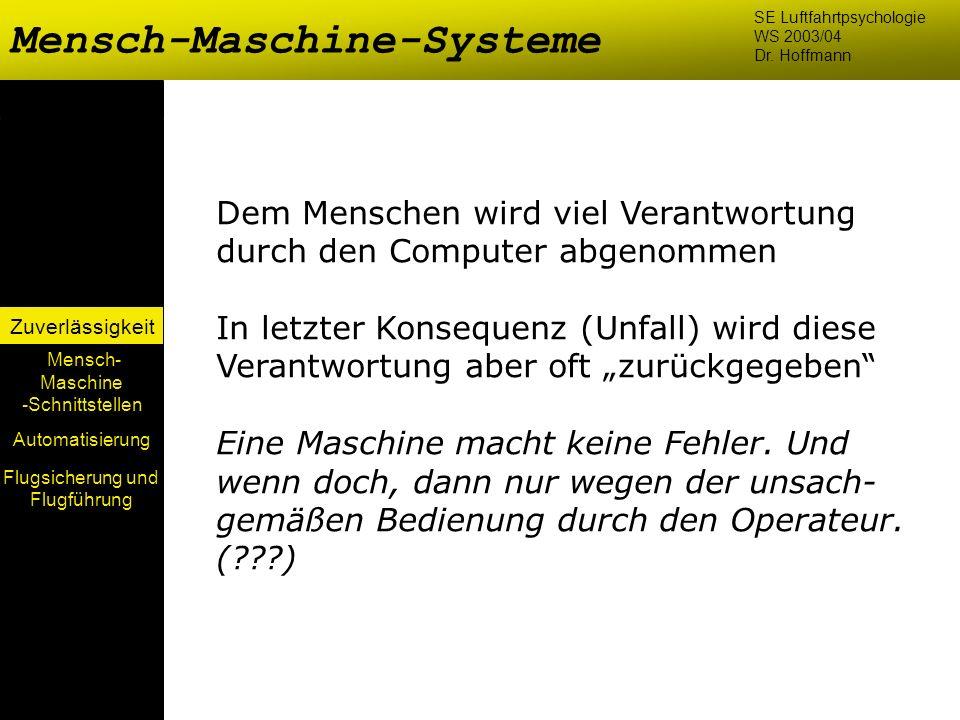 Mensch-Maschine-Systeme Mensch- Maschine -Schnittstellen Automatisierung Zuverlässigkeit SE Luftfahrtpsychologie WS 2003/04 Dr. Hoffmann Dem Menschen