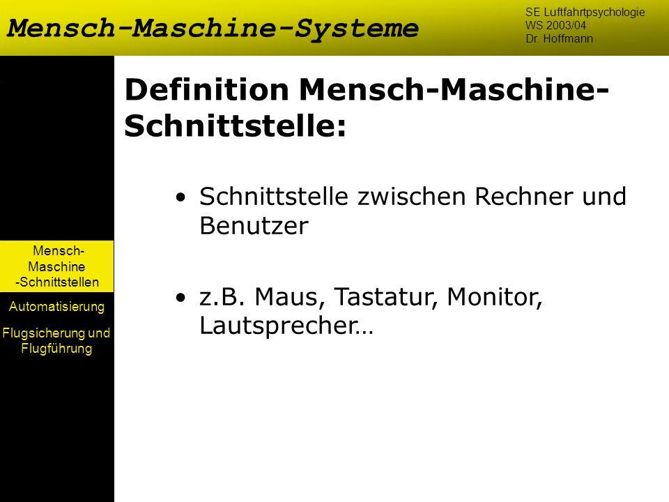 Mensch- Maschine -Schnittstellen Automatisierung Definition Mensch-Maschine- Schnittstelle: Schnittstelle zwischen Rechner und Benutzer z.B. Maus, Tas