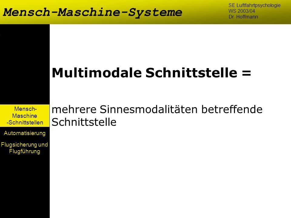 Mensch- Maschine -Schnittstellen Automatisierung Multimodale Schnittstelle = mehrere Sinnesmodalitäten betreffende Schnittstelle Mensch-Maschine-Syste