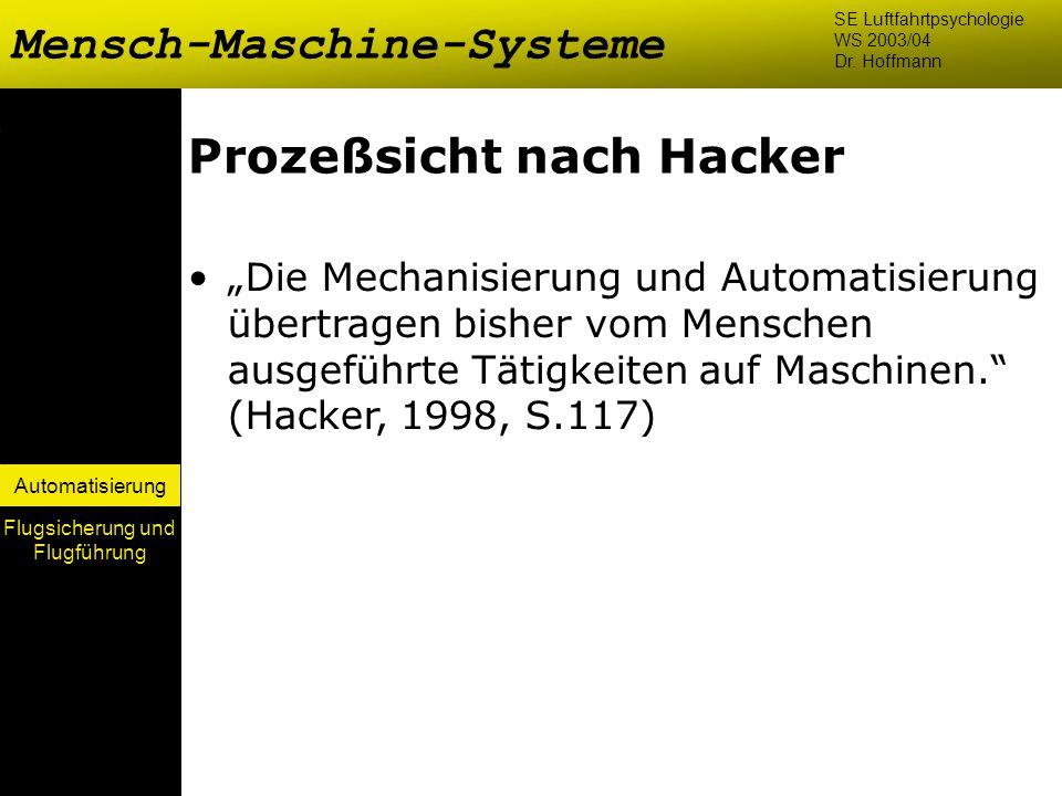 Automatisierung Prozeßsicht nach Hacker Die Mechanisierung und Automatisierung übertragen bisher vom Menschen ausgeführte Tätigkeiten auf Maschinen. (