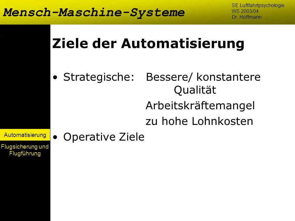 Automatisierung Ziele der Automatisierung Strategische: Bessere/ konstantere Qualität Arbeitskräftemangel zu hohe Lohnkosten Operative Ziele Mensch-Ma