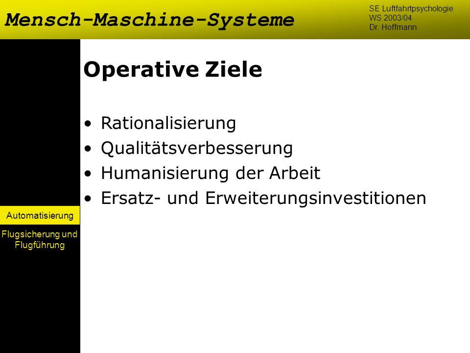 Automatisierung Operative Ziele Rationalisierung Qualitätsverbesserung Humanisierung der Arbeit Ersatz- und Erweiterungsinvestitionen Mensch-Maschine-