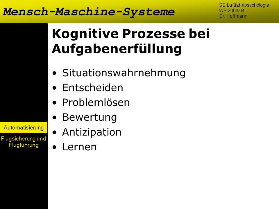 Automatisierung Kognitive Prozesse bei Aufgabenerfüllung Situationswahrnehmung Entscheiden Problemlösen Bewertung Antizipation Lernen Mensch-Maschine-