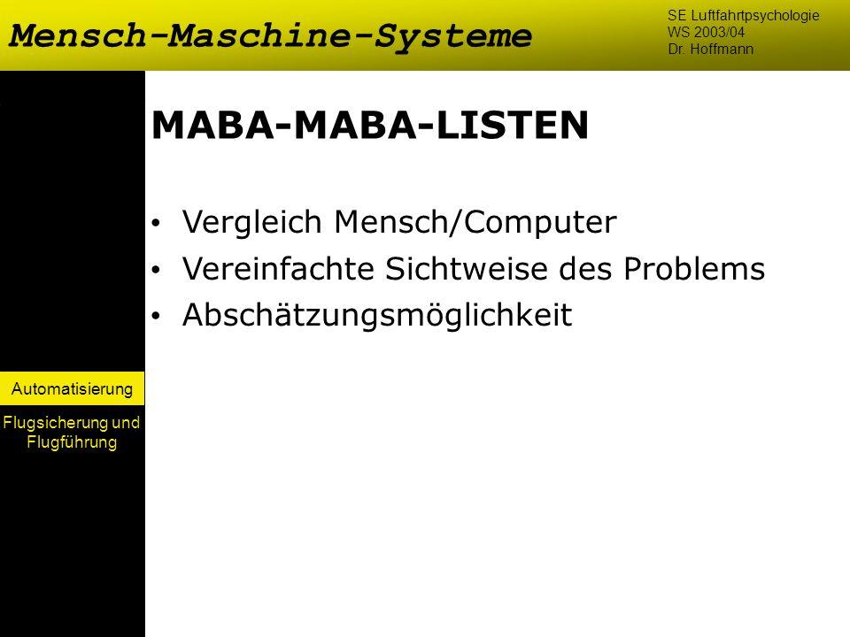 Automatisierung MABA-MABA-LISTEN Vergleich Mensch/Computer Vereinfachte Sichtweise des Problems Abschätzungsmöglichkeit Mensch-Maschine-Systeme SE Luf