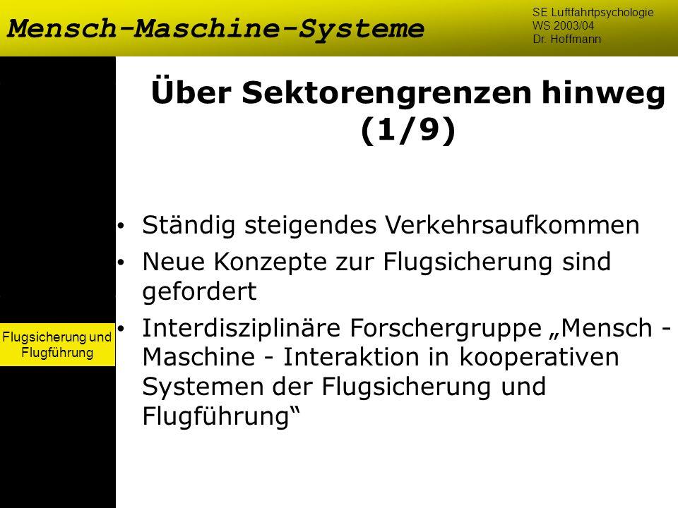 Flugsicherung und Flugführung Mensch-Maschine-Systeme SE Luftfahrtpsychologie WS 2003/04 Dr. Hoffmann Flugsicherung und Flugführung Über Sektorengrenz