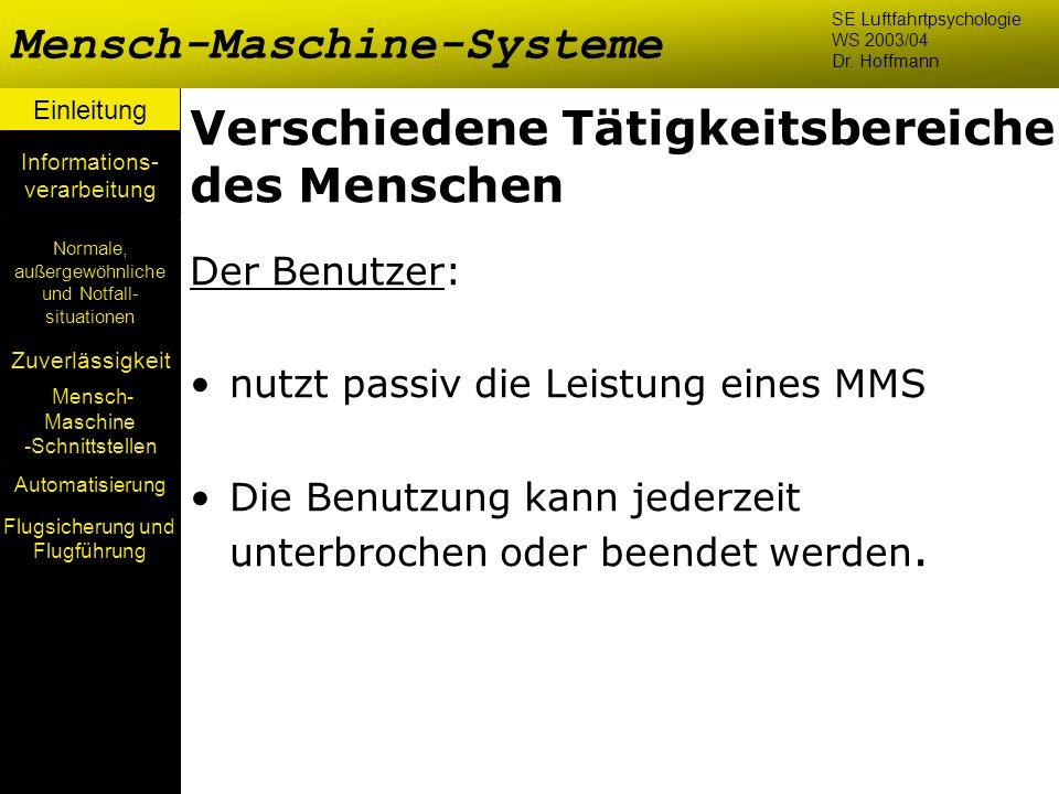 Einleitung Mensch- Maschine -Schnittstellen Automatisierung Normale, außergewöhnliche und Notfall- situationen Zuverlässigkeit Informations- verarbeit