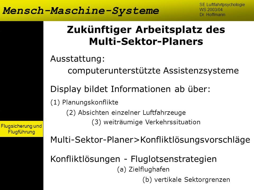 Flugsicherung und Flugführung Mensch-Maschine-Systeme SE Luftfahrtpsychologie WS 2003/04 Dr. Hoffmann Flugsicherung und Flugführung Zukünftiger Arbeit