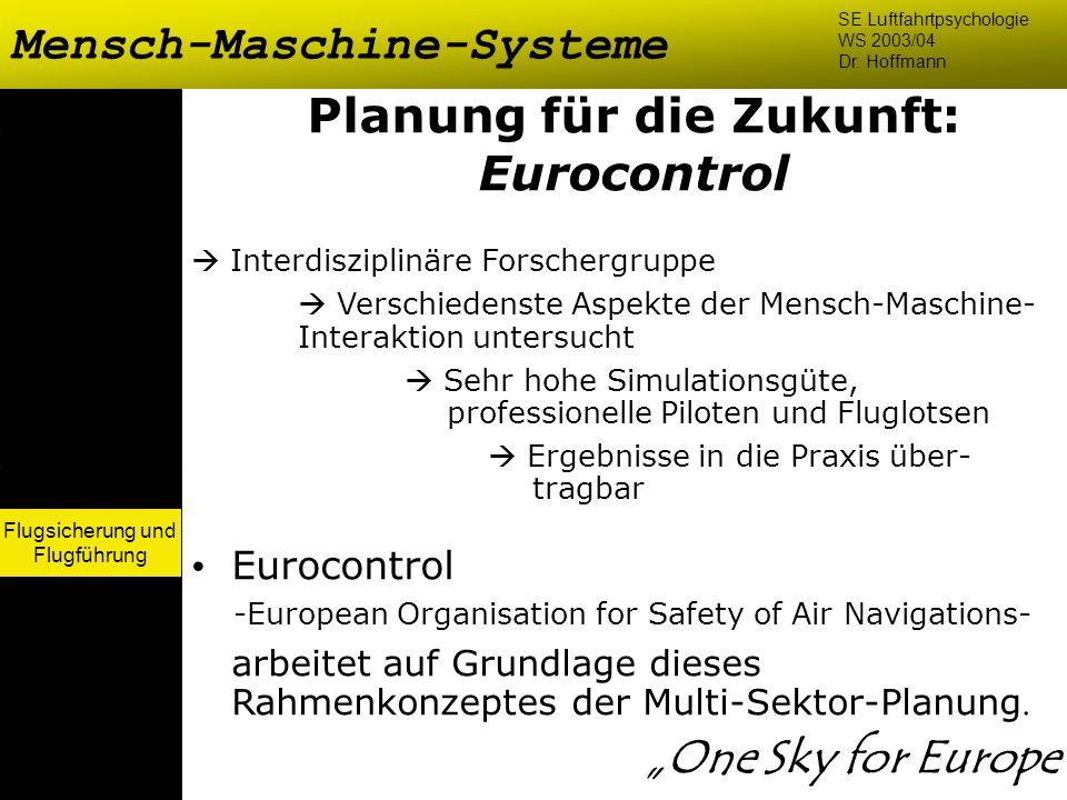 Flugsicherung und Flugführung Mensch-Maschine-Systeme SE Luftfahrtpsychologie WS 2003/04 Dr. Hoffmann Flugsicherung und Flugführung Planung für die Zu