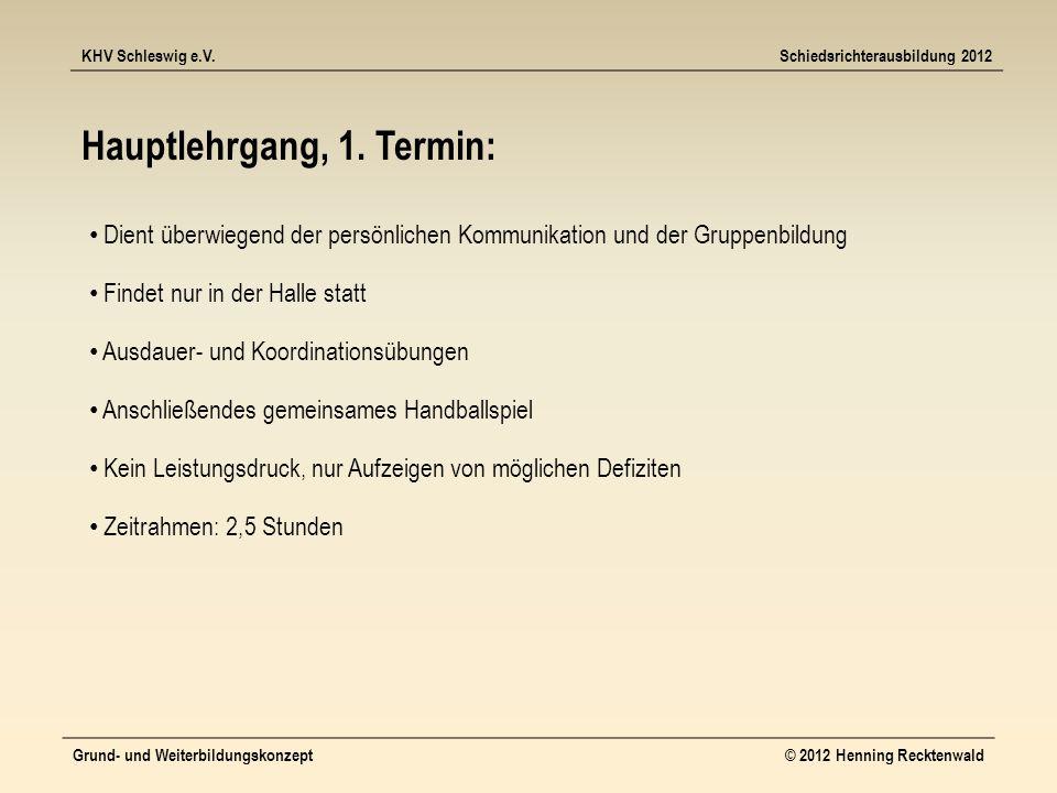 KHV Schleswig e.V.Schiedsrichterausbildung 2012 Grund- und Weiterbildungskonzept© 2012 Henning Recktenwald Hauptlehrgang, 1.