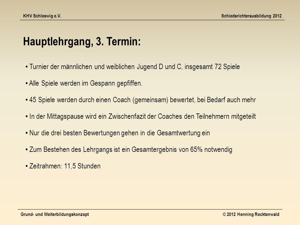 KHV Schleswig e.V.Schiedsrichterausbildung 2012 Grund- und Weiterbildungskonzept© 2012 Henning Recktenwald Hauptlehrgang, 3.