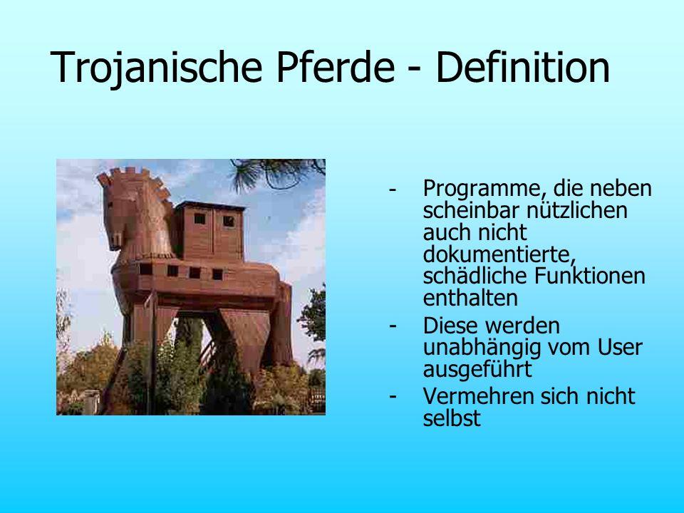 Trojanische Pferde - Definition - Programme, die neben scheinbar nützlichen auch nicht dokumentierte, schädliche Funktionen enthalten - Diese werden u