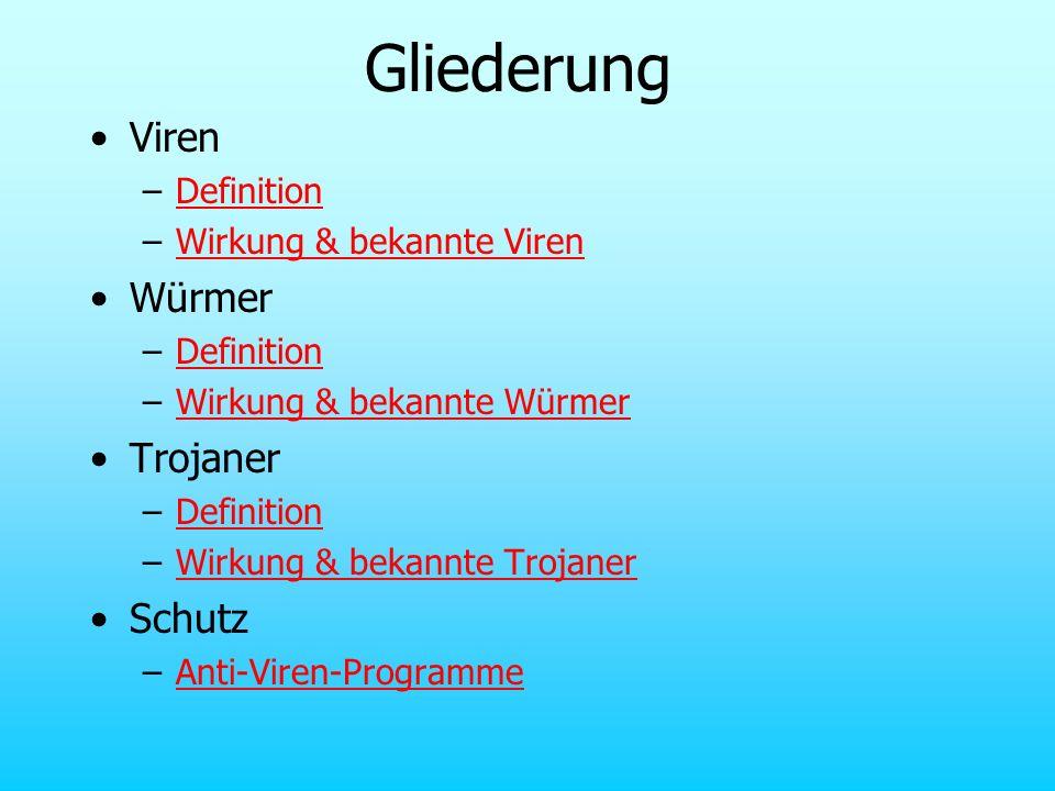 Gliederung Viren –DefinitionDefinition –Wirkung & bekannte VirenWirkung & bekannte Viren Würmer –DefinitionDefinition –Wirkung & bekannte WürmerWirkun