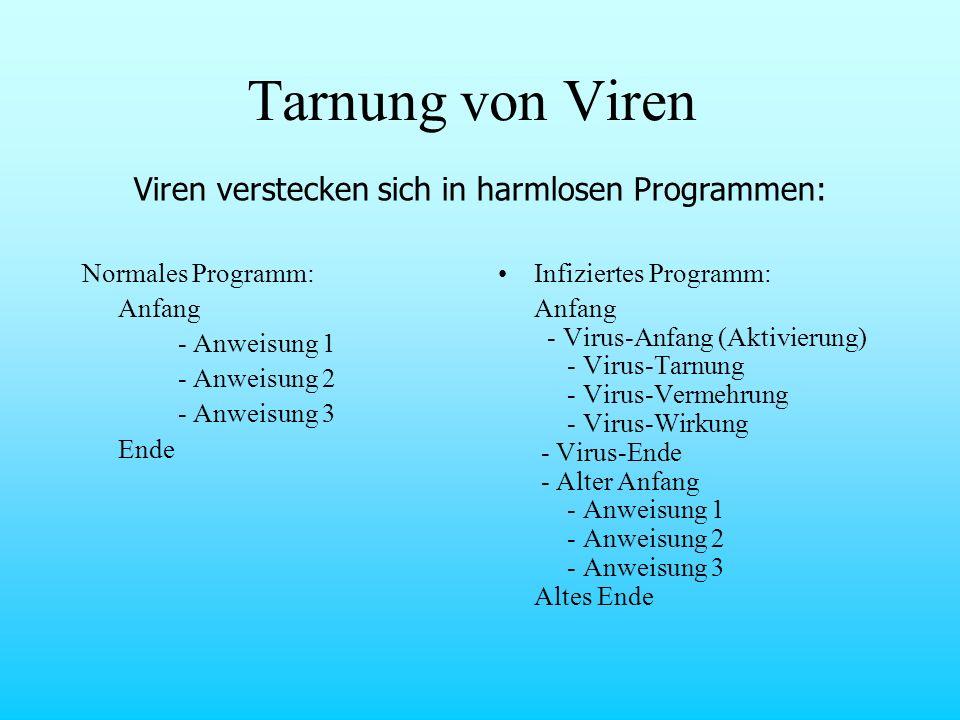 Tarnung von Viren Normales Programm: Anfang - Anweisung 1 - Anweisung 2 - Anweisung 3 Ende Infiziertes Programm: Anfang - Virus-Anfang (Aktivierung) -