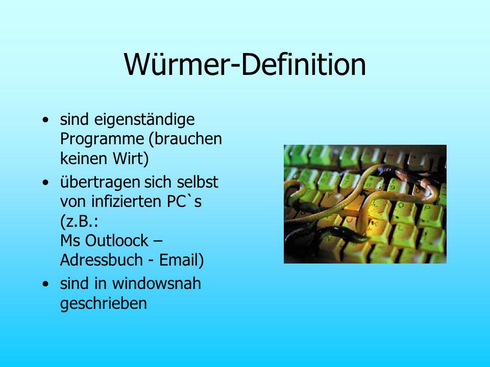 Würmer-Definition sind eigenständige Programme (brauchen keinen Wirt) übertragen sich selbst von infizierten PC`s (z.B.: Ms Outloock – Adressbuch - Em
