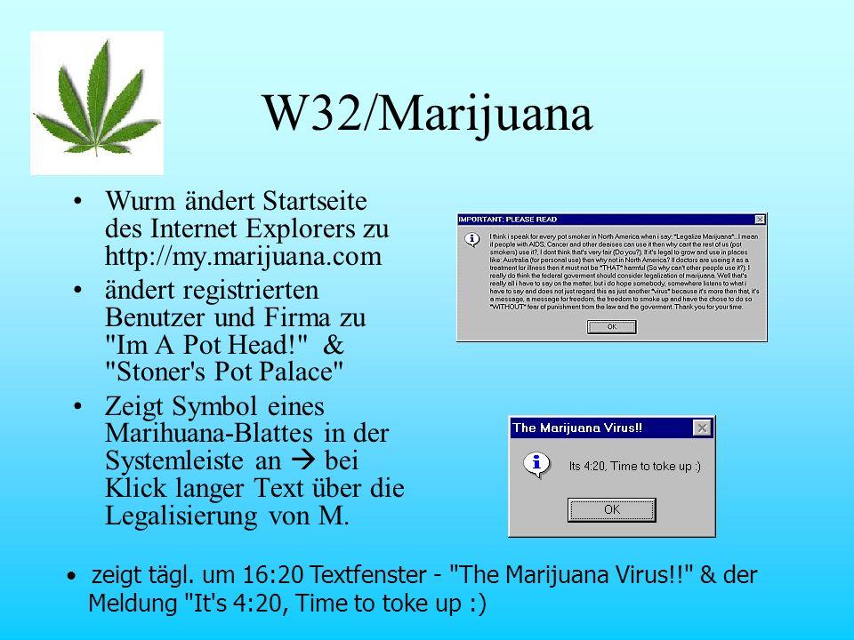 Wurm ändert Startseite des Internet Explorers zu http://my.marijuana.com ändert registrierten Benutzer und Firma zu