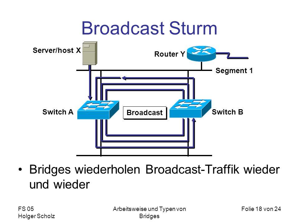 FS 05 Holger Scholz Arbeitsweise und Typen von Bridges Folie 18 von 24 Broadcast Sturm Bridges wiederholen Broadcast-Traffik wieder und wieder Segment