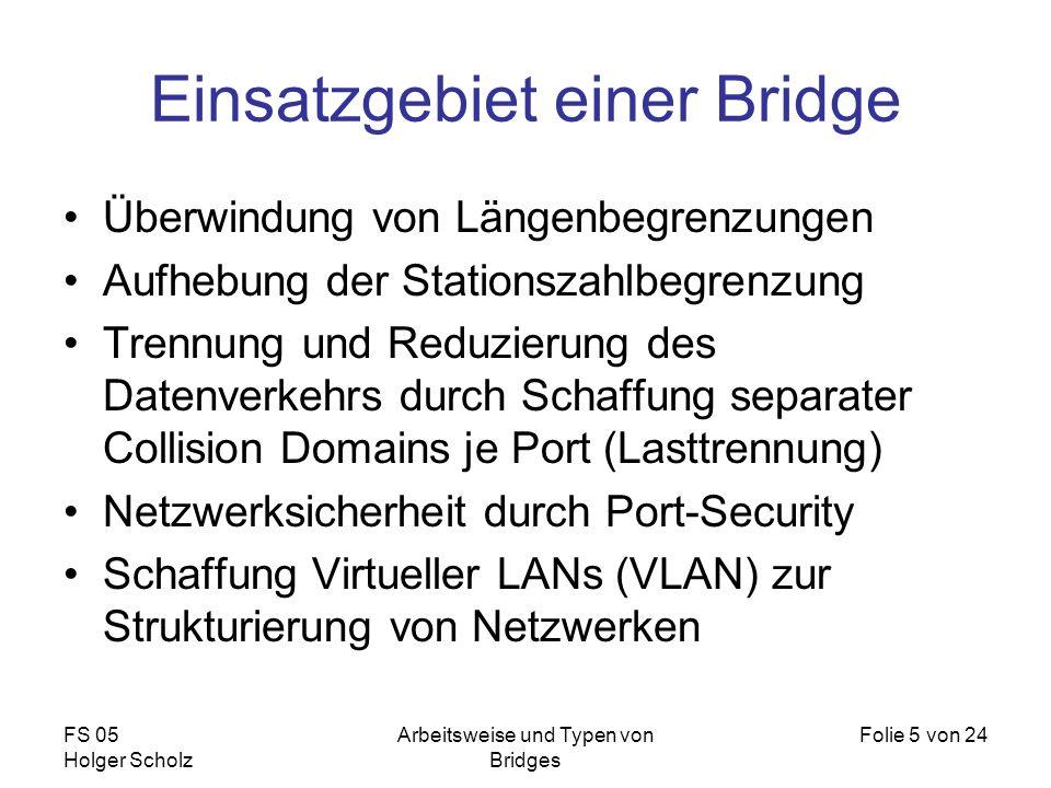 FS 05 Holger Scholz Arbeitsweise und Typen von Bridges Folie 5 von 24 Überwindung von Längenbegrenzungen Aufhebung der Stationszahlbegrenzung Trennung