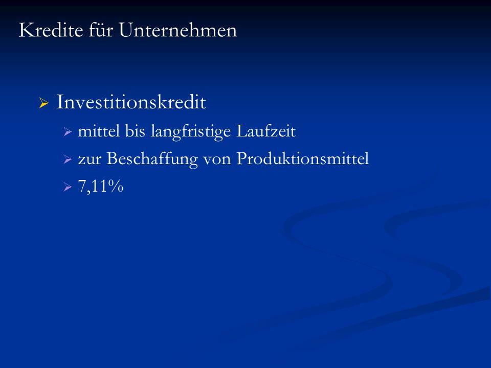 Investitionskredit mittel bis langfristige Laufzeit zur Beschaffung von Produktionsmittel 7,11% Kredite für Unternehmen