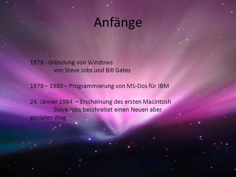 Anfänge 1978 - Gründung von Windows von Steve Jobs und Bill Gates 1978 – 1980 – Programmierung von MS-Dos für IBM 24. Jänner 1984 – Erscheinung des er