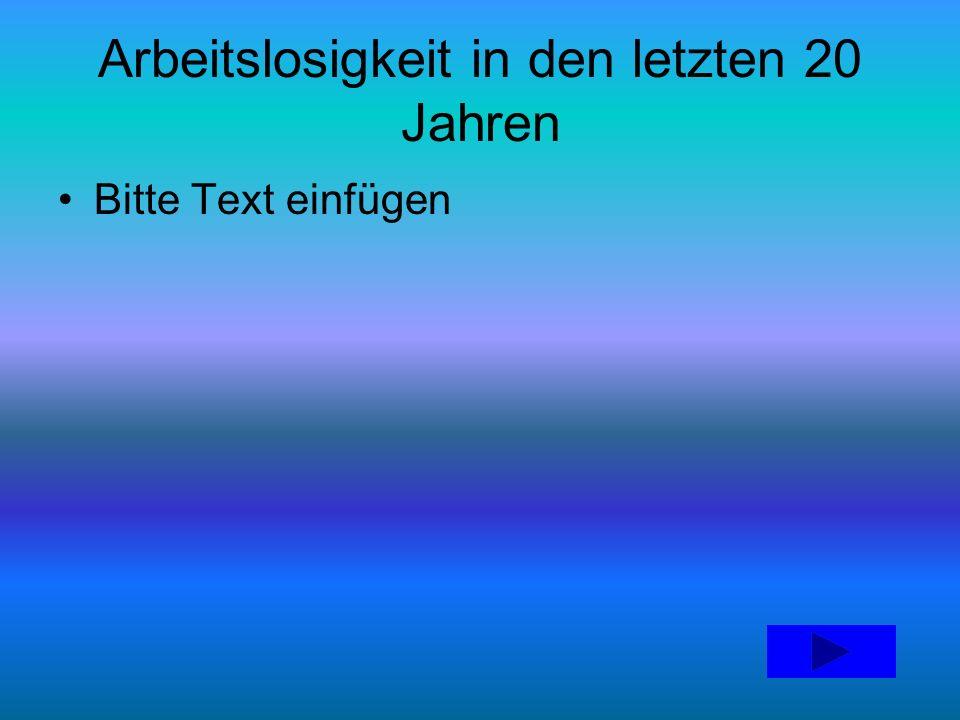 Arbeitslosigkeit in den letzten 20 Jahren Bitte Text einfügen