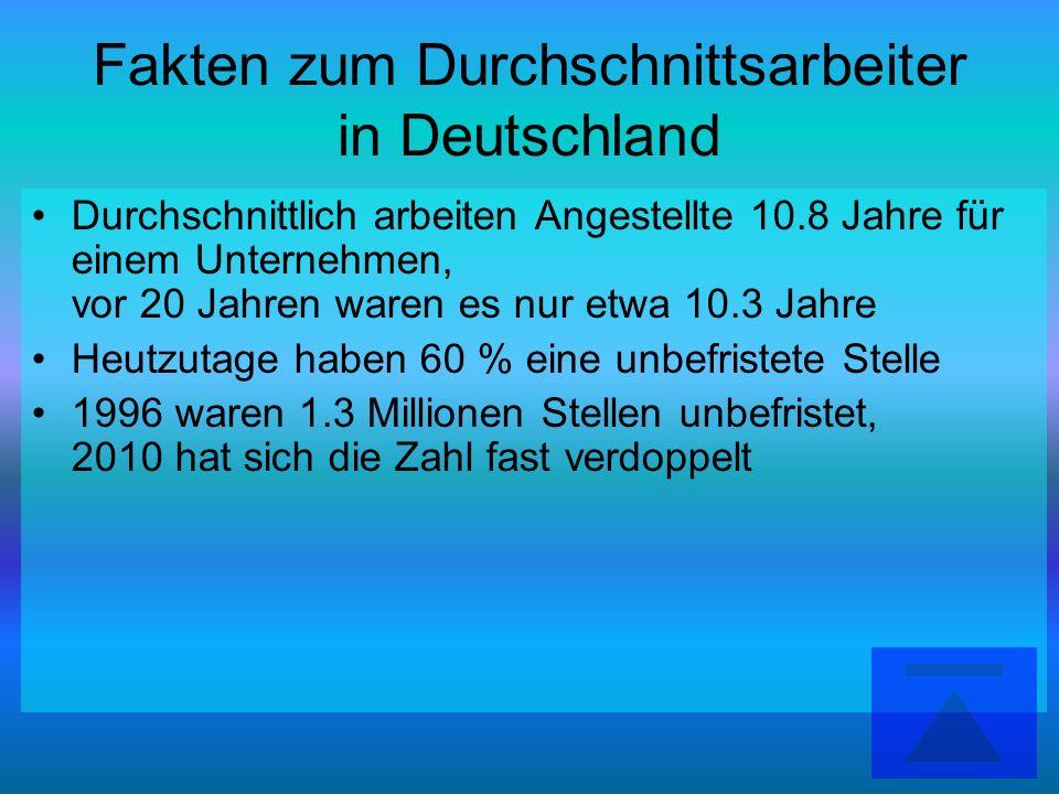 Fakten zum Durchschnittsarbeiter in Deutschland Durchschnittlich arbeiten Angestellte 10.8 Jahre für einem Unternehmen, vor 20 Jahren waren es nur etw