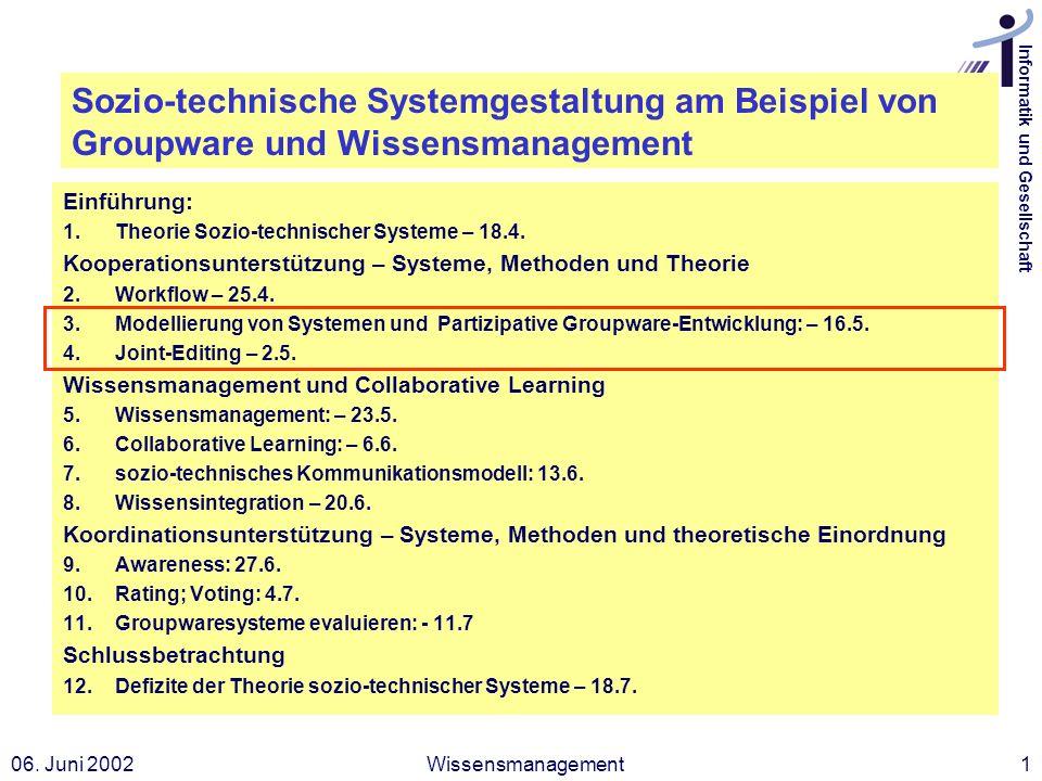 Informatik und Gesellschaft 06. Juni 2002Wissensmanagement1 Sozio-technische Systemgestaltung am Beispiel von Groupware und Wissensmanagement Einführu