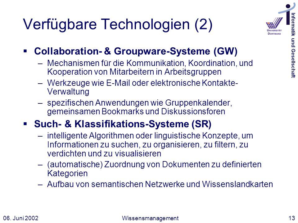 Informatik und Gesellschaft 06. Juni 2002Wissensmanagement13 Verfügbare Technologien (2) Collaboration- & Groupware-Systeme (GW) –Mechanismen für die