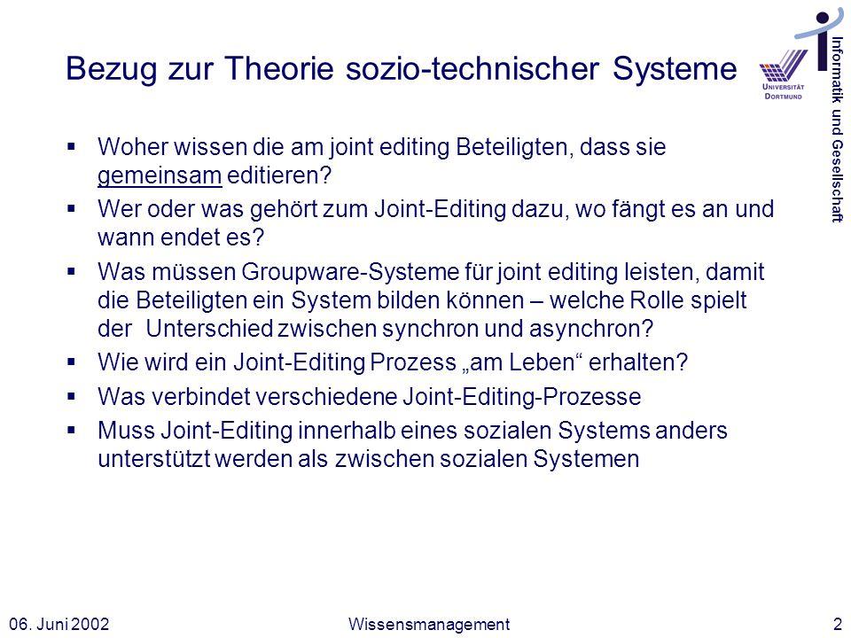Informatik und Gesellschaft 06. Juni 2002Wissensmanagement2 Bezug zur Theorie sozio-technischer Systeme Woher wissen die am joint editing Beteiligten,