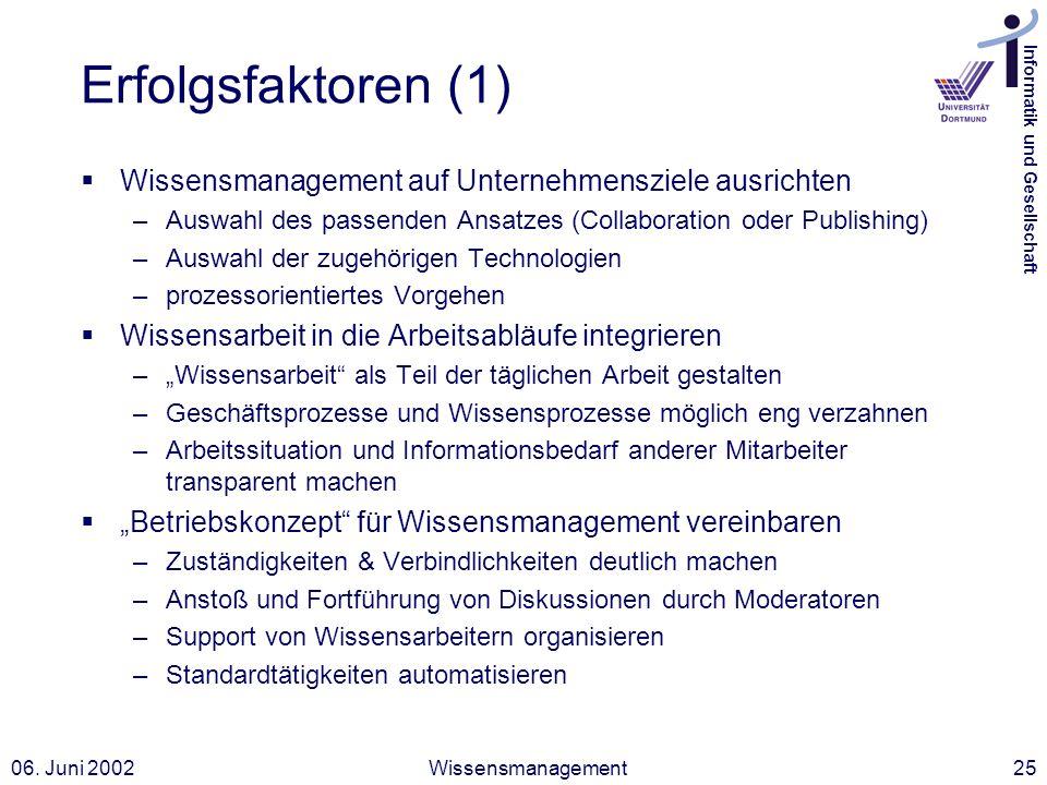 Informatik und Gesellschaft 06. Juni 2002Wissensmanagement25 Erfolgsfaktoren (1) Wissensmanagement auf Unternehmensziele ausrichten –Auswahl des passe