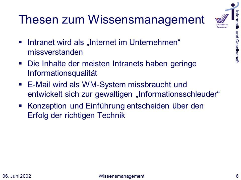 Informatik und Gesellschaft 06. Juni 2002Wissensmanagement6 Thesen zum Wissensmanagement Intranet wird als Internet im Unternehmen missverstanden Die