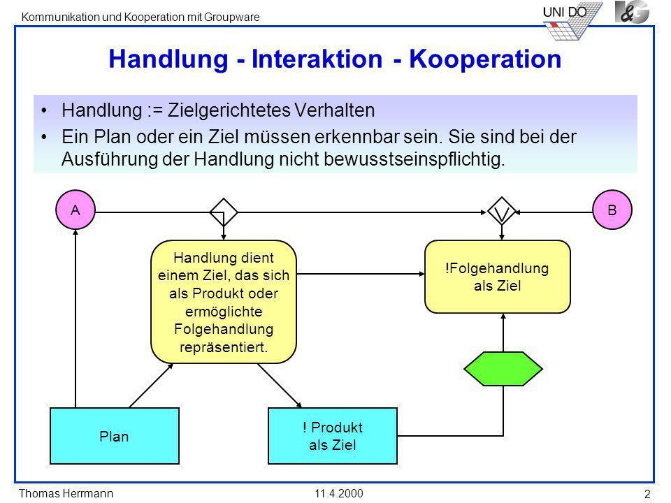 Thomas Herrmann Kommunikation und Kooperation mit Groupware 11.4.2000 2 Handlung - Interaktion - Kooperation Handlung := Zielgerichtetes Verhalten Ein