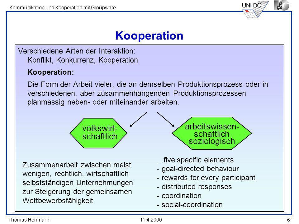 Thomas Herrmann Kommunikation und Kooperation mit Groupware 11.4.2000 6 Kooperation Verschiedene Arten der Interaktion: Konflikt, Konkurrenz, Kooperat
