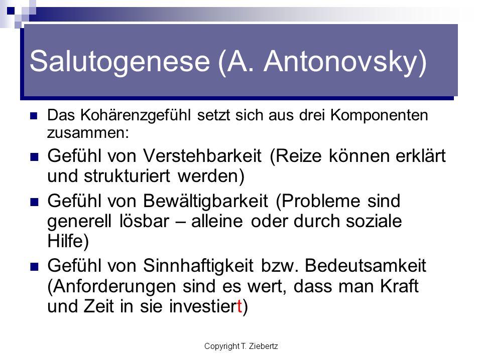 Copyright T. Ziebertz Salutogenese (A. Antonovsky) Das Kohärenzgefühl (SOC) Allgemeine innere Grundhaltung eines Individuums gegenüber der Welt und de